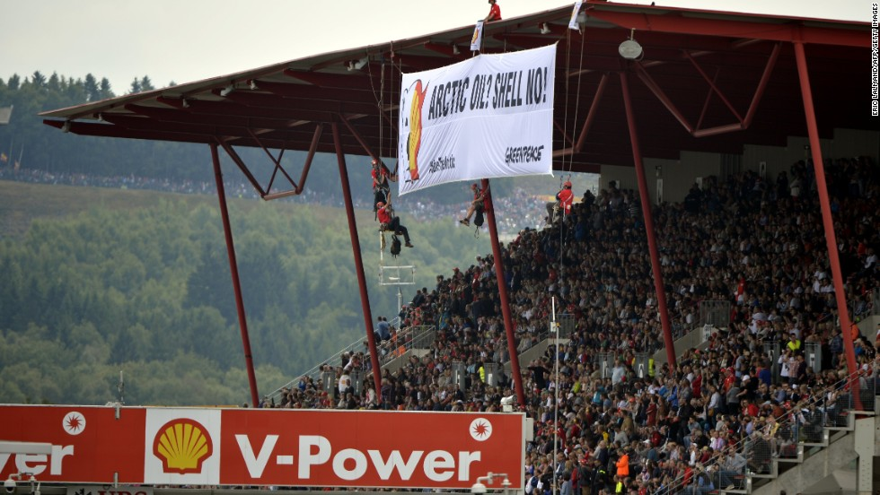 The activists were protesting against oil multinational Shell, which is the race sponsor for the Belgian Grand Prix.