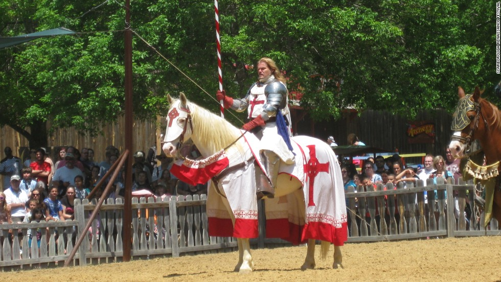 The yearly Scarborough Faire Renaissance Festival in Waxahachie, Texas attracts nearly 250,000 attendees over eight consecutive weekends. The festival is set in the year of 1533, when King Henry XIII and Anne Boleyn were wed.