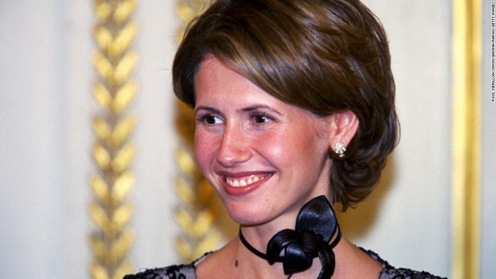 First lady of Syria Asma al-Assad attends an official dinner at Elysee Palace in Paris, on Jun 25, 2001. She grew up in London and has been married to Syrian President Bashar al-Assad for 13 years. She worked for JP Morgan as an investment banker before marrying Bashar in 2000, six months after he became president.<br />