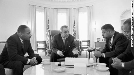 King and other civil rights leaders met with President Lyndon B. Johnson in the mid-1960s.