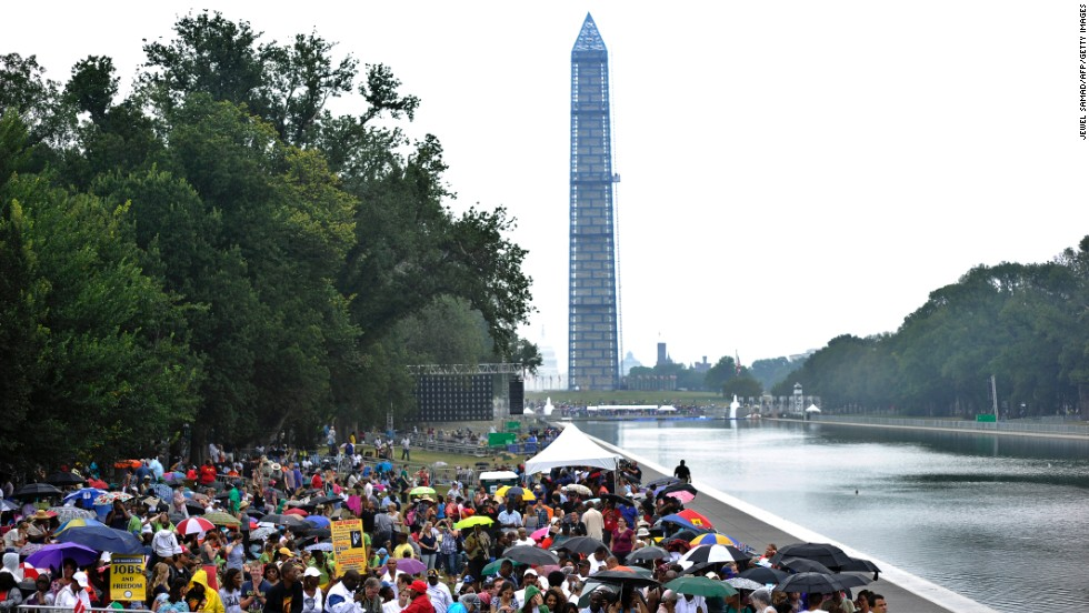 People gather at the Lincoln Memorial for the celebration.
