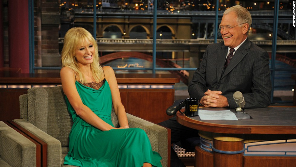 "Paris Hilton braved seeing Letterman again in 2008 even after he upset her during her 2007 interview. The late night host grilled her about her jail time to the point that she said she was ""sad"" she'd even come on the show. The following year, Letterman acknowledged how tough he'd been on the celebutante and <a href=""http://www.people.com/people/article/0,,20175786,00.html"" target=""_blank"">made nice</a>."