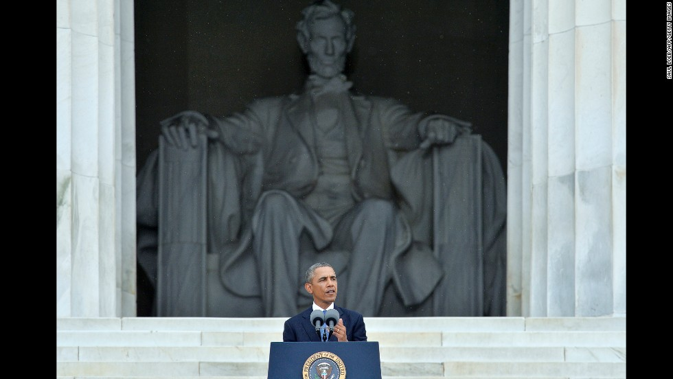 President Barack Obama addresses the crowd gathered on the National Mall.
