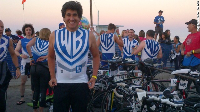 CNN editor Michael Martinez shows off his Fit Nation uniform for the Nautica Malibu Triathlon in 2012.