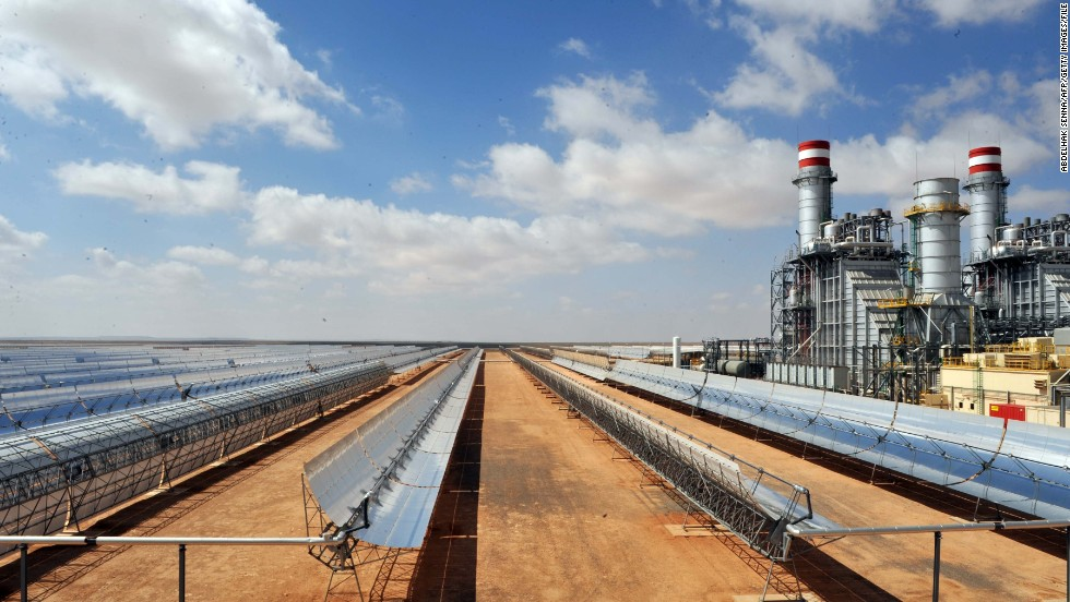 A view of the panels of the solar power station of Ain Beni Mathar near Oujda in Morocco. The country wants to produce 2,000 MW of solar energy by 2020.