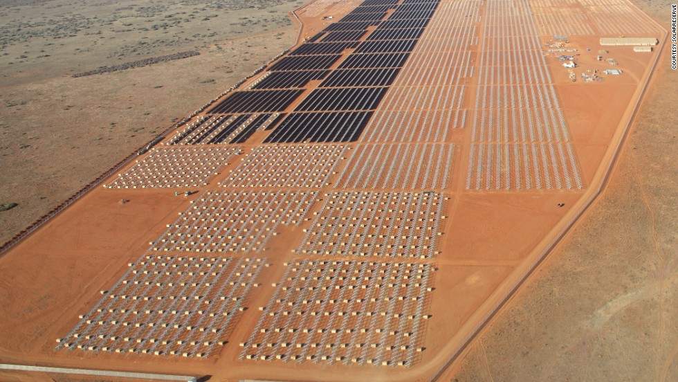 Renewable energy firm SolarReserve has 238 megawatts (MW) of solar projects in construction in South Africa, including the Jasper Power Project, which has Google as an investor. Pictured here, the company's 75 MW Lesedi project near Kimberly.