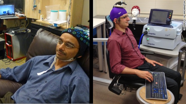 Rajesh Rao, left, sends brain signals to Andrea Stocco, right, in a different laboratory.
