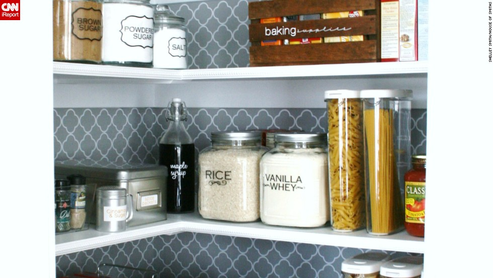 The quatrefoil background of Shelley Smith's pantry sets the scene for orderly storage.