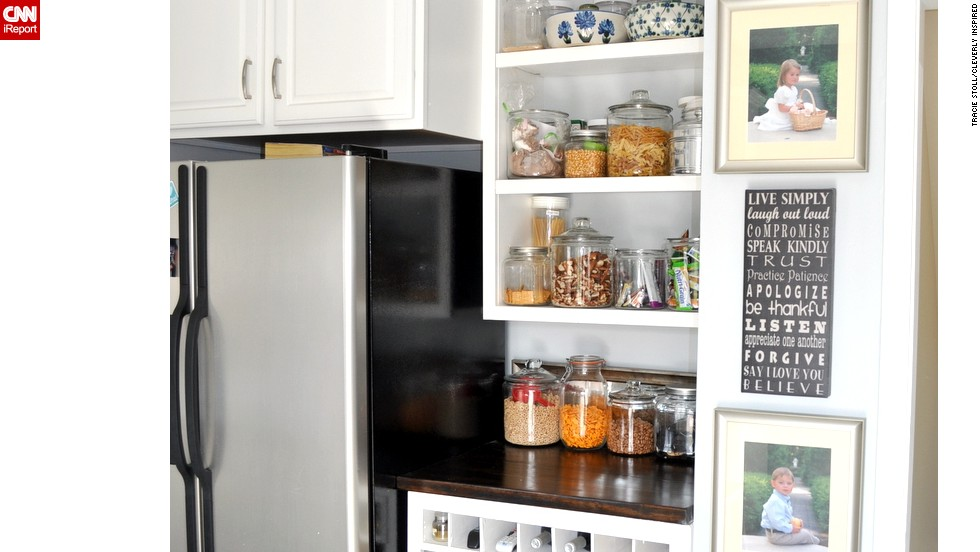 "<a href=""http://ireport.cnn.com/docs/DOC-1021470"">Tracie Stoll'</a>s pantry uses open shelves to turn staples into decor."