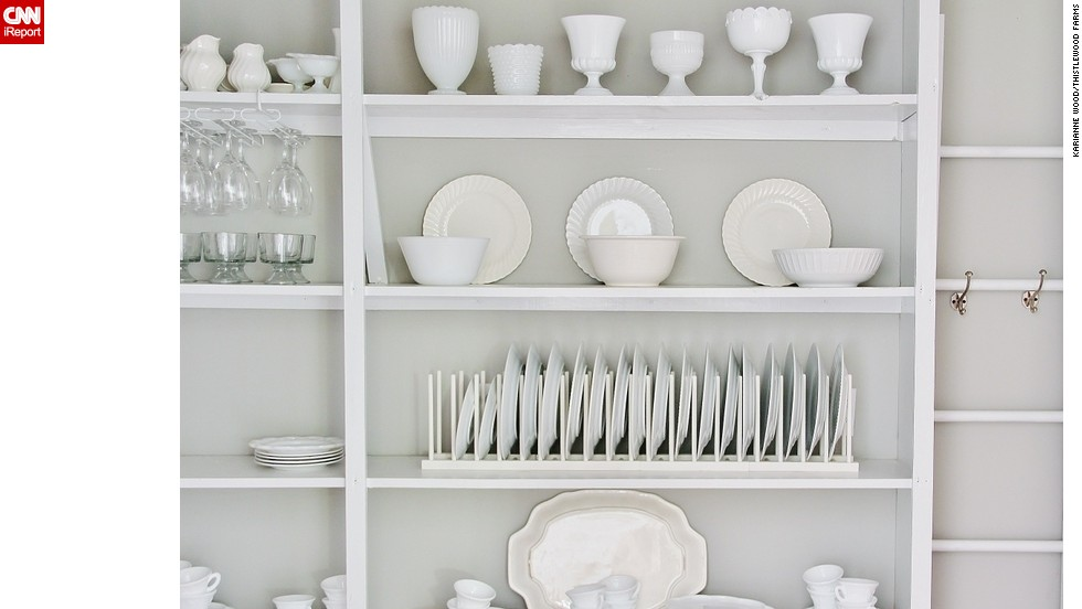 Wood's collection of milk glass fits in perfectly with the rest of her white china.