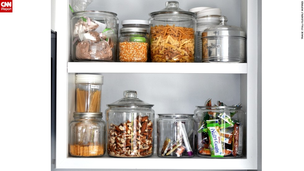 A collection of clear containers adds harmony to the look.