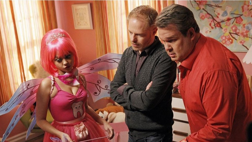 'Modern Family': Jesse Tyler Ferguson and Eric Stonestreet as co-dads Mitchell Pritchett  and Cameron Tucker, with their niece Haley, played by Sarah Hyland.