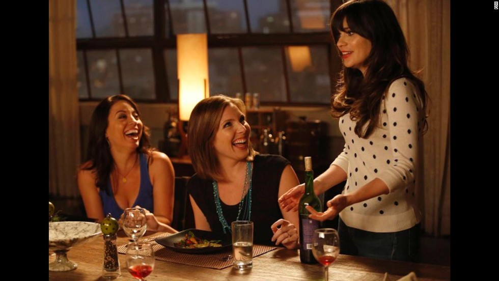 'New Girl': Kay Cannon and June Diane Raphael as moms-to-be Melissa and Dr. Sadie with their friend Jess, played by Zoey Deschanel.