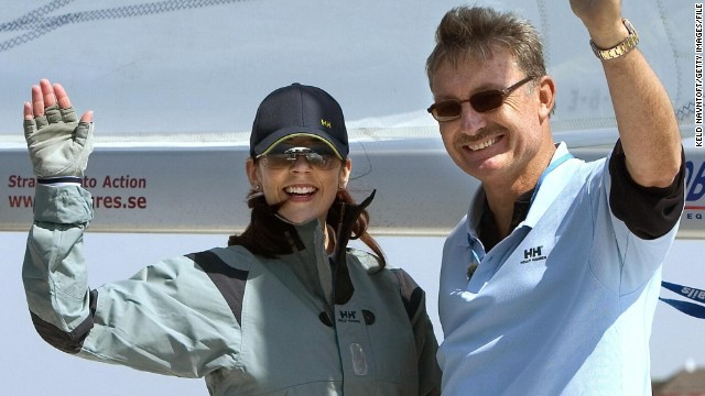 John Bertrand, pictured here during a friendly sailing competition with Mary, Crown Princess of Denmark.