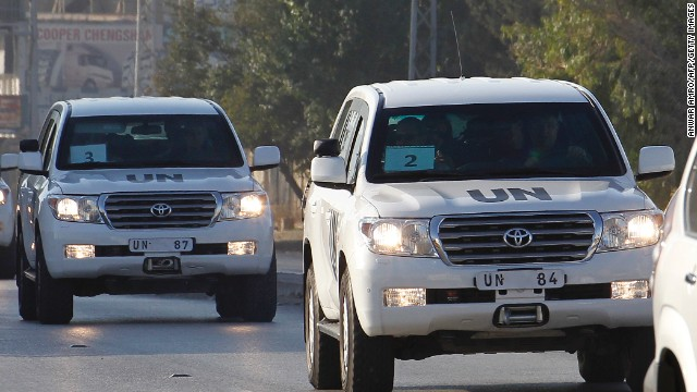 A UN convoy of vehicles, carrying inspectors investigating allegations of the Syrian regime's use of chemical weapons, drives through the Lebanese village of Taanayel after crossing into Lebanon from Syria on August 31, 2013. The team of UN inspectors left Damascus after completing their probe into a suspected chemical weapons attack near Damascus, an AFP reporter said. AFP PHOTO/ANWAR AMRO (Photo credit should read ANWAR AMRO/AFP/Getty Images)