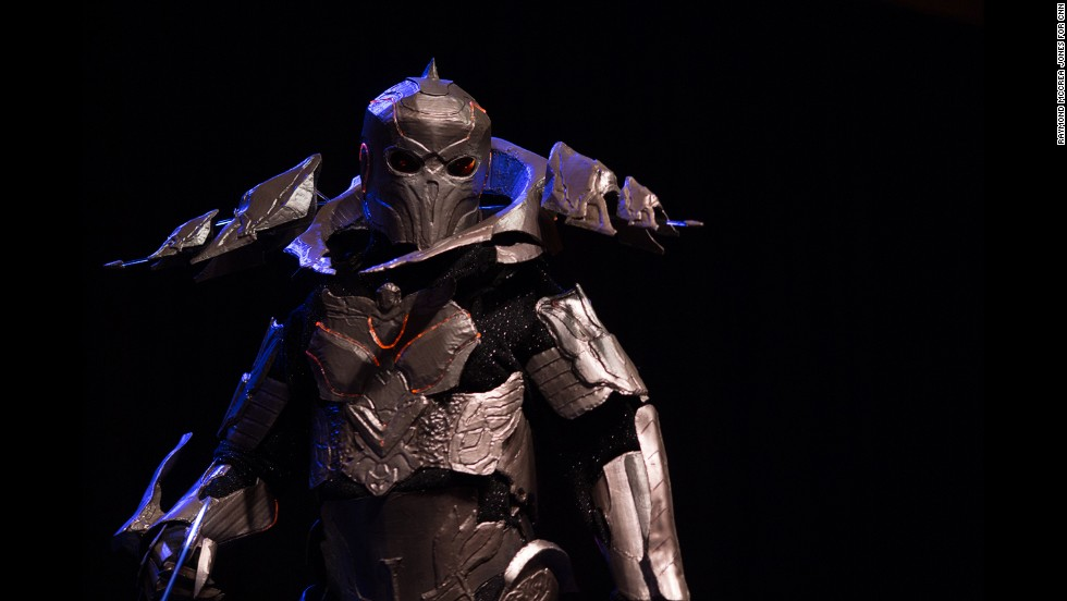 "A participant walks on stage as a character from the video game ""Elder Scrolls: Skyrim."""