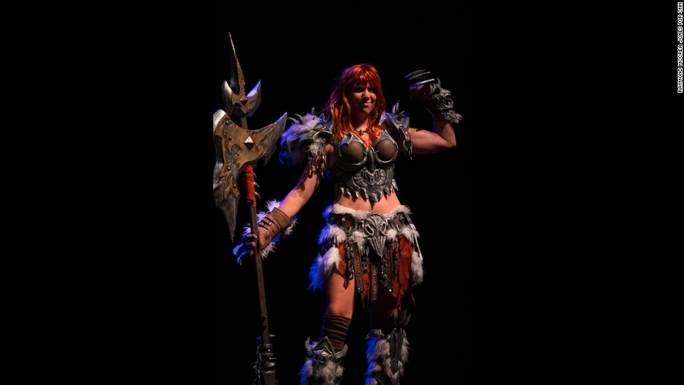 "Andrea Vander won Best Use of Material as Platts the Barbarian from the game ""Diablo III."""