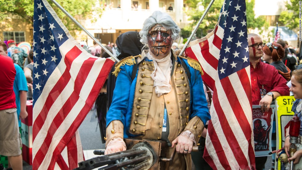 "Larry Martin of Knoxville, Tennessee, dresses as a Motorized Patriot from the video game ""Bioshock Infinite."""