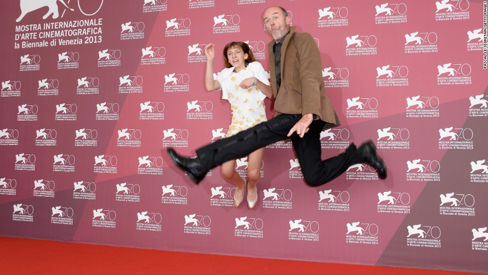 "Jacques Bonnaffé, right, and Lou-Lélia Demerliac attend the ""Je m'appelle Hmmm..."" photo call at the Palazzo Del Casino on September 1."