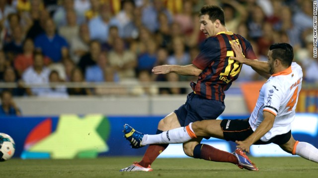 Valencia couldn't stop Lionel Messi on Sunday at the Mestalla as the Argentine scored three first-half goals.