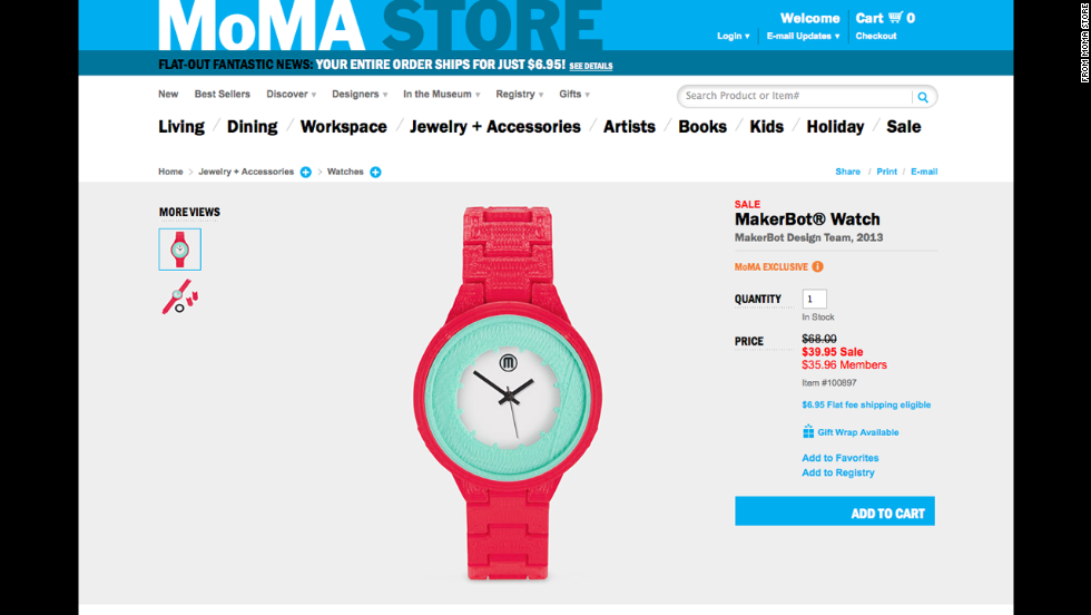 This 3-D printed watch has enough artistic flair to be sold in the MoMA Store.