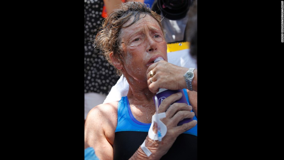 Nyad takes a drink after completing her swim from Cuba.