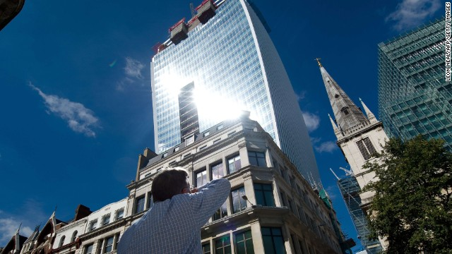 "Intense light beams down from the ""Walkie Talkie"" tower on August 30."