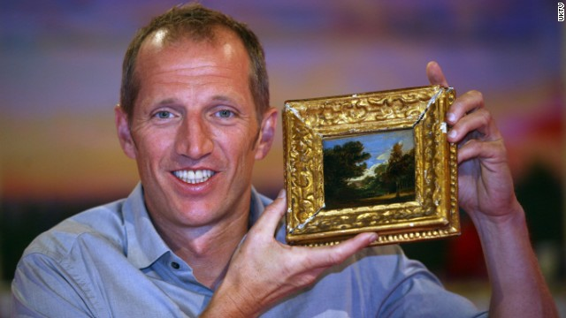 Robert Darvell with his Constable landscape -- thought to be worth $390,000.