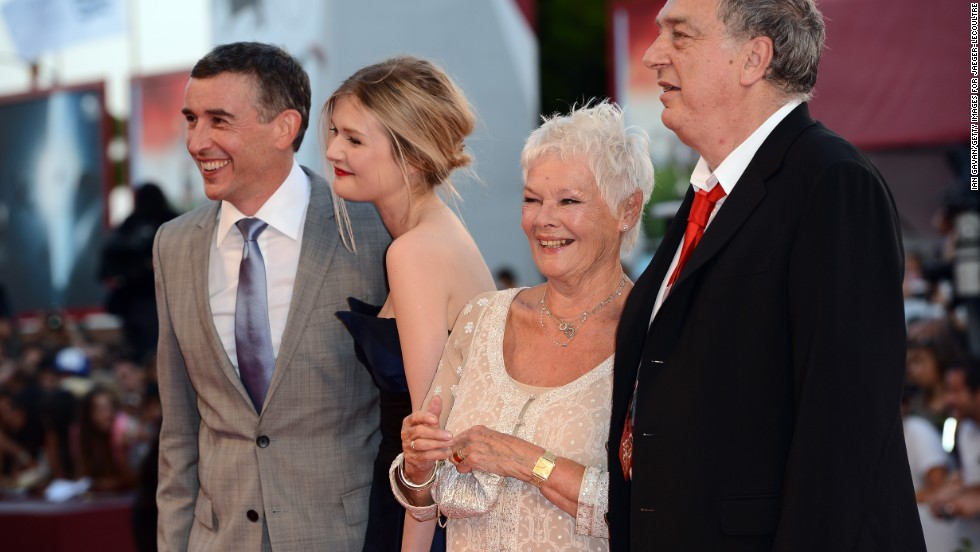"Steve Coogan, left, Sophie Kennedy Clark, Dame Judi Dench and director Stephen Frears attend the ""Philomena"" premiere on Saturday, August 31."