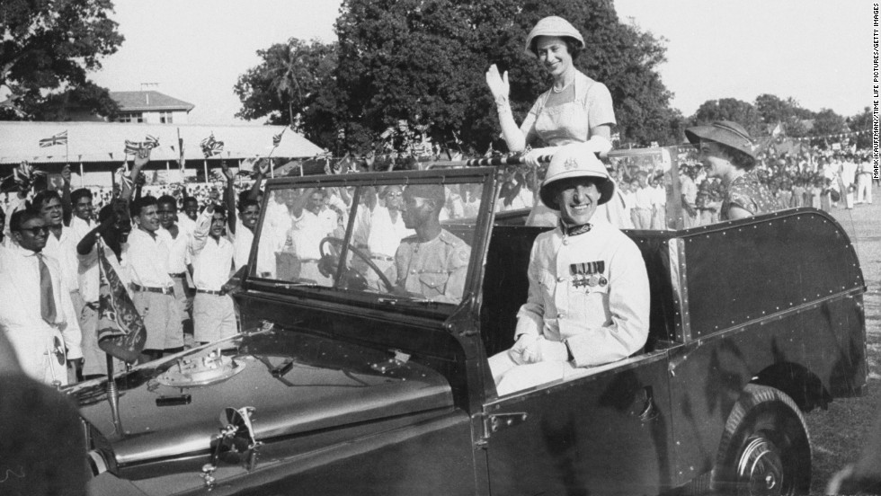 Princess Margaret waves to a crowd during her tour of East Africa on September 1, 1956.
