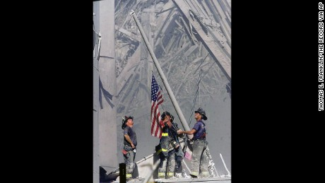 Iconic image of 9/11 flag raising