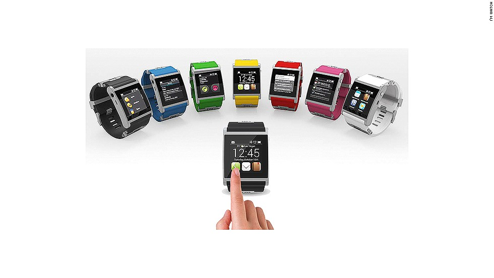 "The Italian-made aluminum ""I'm Watch,"" announced at the 2013 <a href=""http://cnn.com/SPECIALS/tech/ces-2013/index.html"">Consumer Electronics Show</a>, sells for $249. It comes in seven colors and runs the Droid 2 operating system. It connects to Android smartphones using Bluetooth."