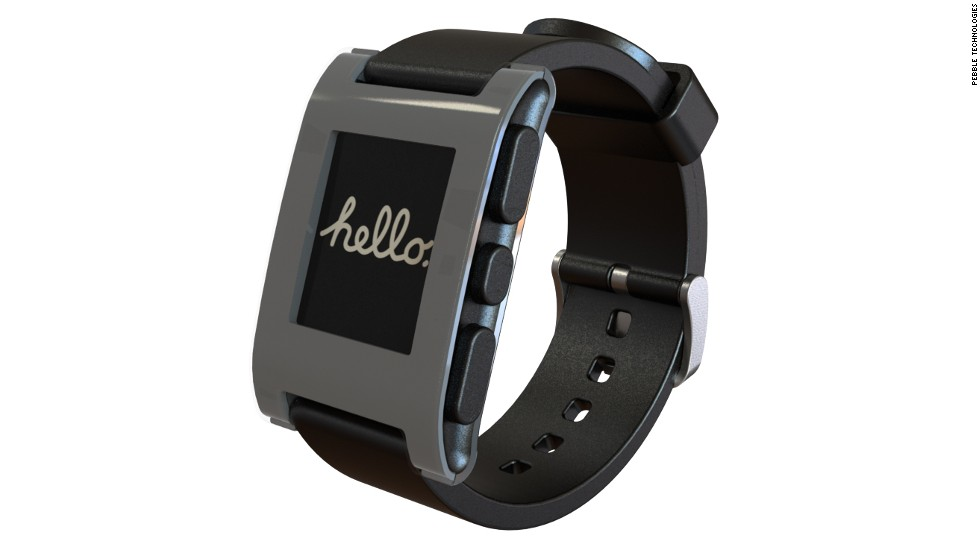 "The Pebble Watch first gained attention by pulling in more than <a href=""http://cnn.com/2012/05/14/tech/gaming-gadgets/pebble-smartwatch-kickstarter-project"">$10 million on Kickstarter.</a> Pebble connects to an iPhone or Android phone via Bluetooth and has a growing selection of its own apps."