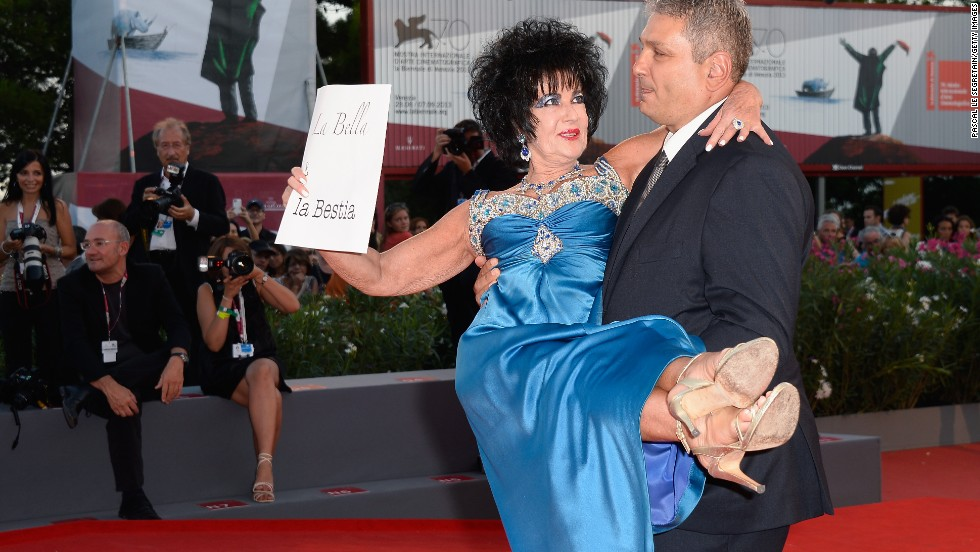 "Italian actress Valeria Solarino attends the ""L'Intrepido"" premiere dressed as Elizabeth Taylor at the Venice Film Festival on September 4."