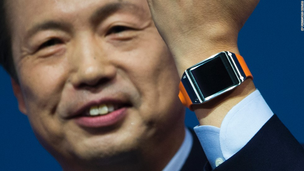 J.K. Shin, head of Samsung Mobile Communications, presents the Samsung Galaxy Gear in Berlin in 2013. Six months later, a second-generation watch featured a new operating system and more processing power.