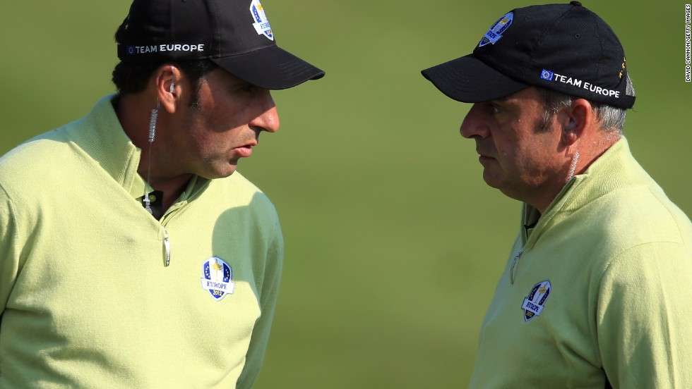 2012 European captain Jose Maria Olazabal, left, discusses tactics with his assistant McGinley during the match at Medinah, where the U.S. collapsed to lose on the final day.