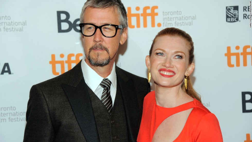 "Mireille Enos, a cast member in ""Devil's Knot,"" poses with her husband, actor Alan Ruck, at the premiere of the film on September 8."