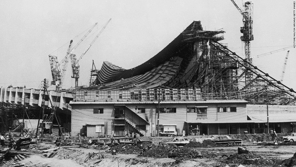 The construction of the National Gymnasium of the Olympic Village at Yoyogi in Tokyo, where the athletes lived for the duration of the Games, pictured on June 6, 1964.