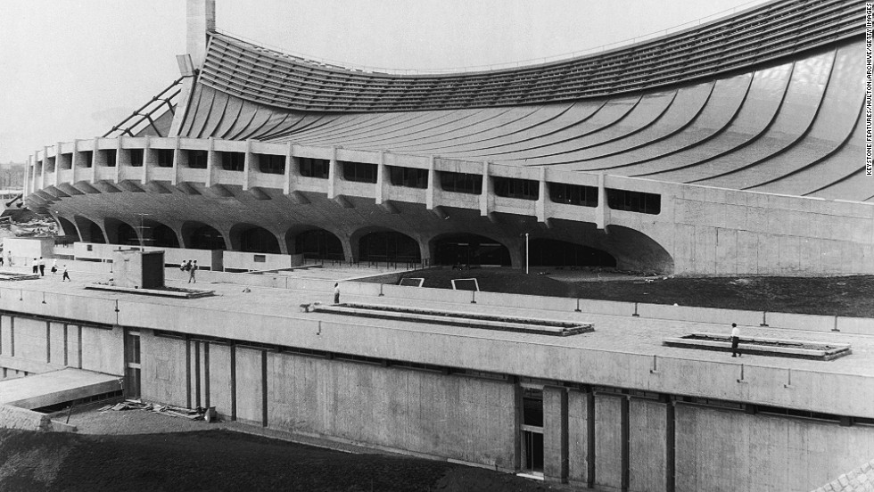 The completed National Gymnasium. The building was designed by Japanese architect Kenzo Tange.
