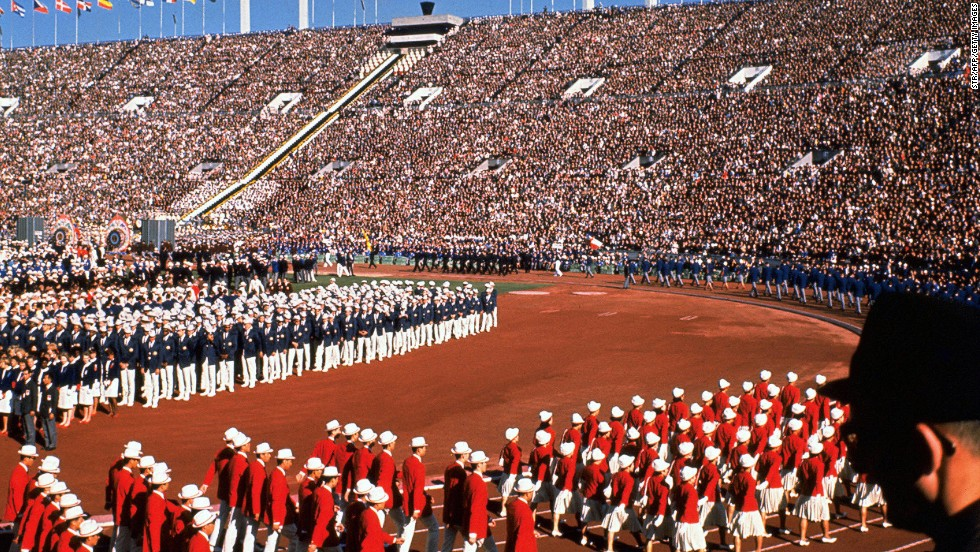 "This photo taken on October 10, 1964 shows the opening ceremony of the Tokyo Olympic Games at the city's national stadium.<a href=""http://cnn.com/2013/09/07/sport/world-olympics-2020/?hpt=isp_c1""> </a>"