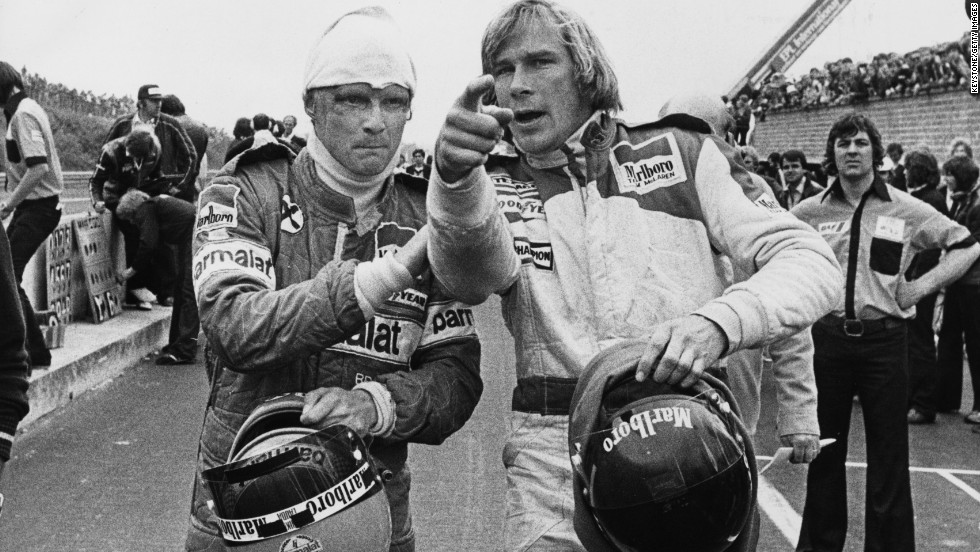 "Lauda (left) and Hunt seen here during their heyday in the 1970s. Their battle during the 1976 season is one of motorsport's most compelling dramas and has now been dramatized in ""Rush"" -- which was released this September."