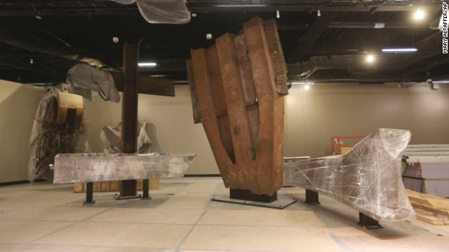 The 'Cross,' left, intersecting steel beams found in the rubble of the World Trade Center, is displayed at the National September 11 Memorial and Museum in 2013.