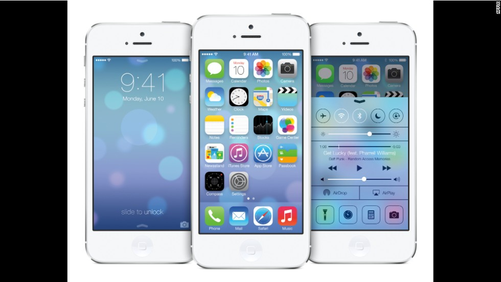 The new iPhones will come loaded with iOS 7, which will also be available in a wireless update for users of older iPhones. The new system replaces the textures and shiny icons of iOS 6 in favor of a brighter look with more muted colors.