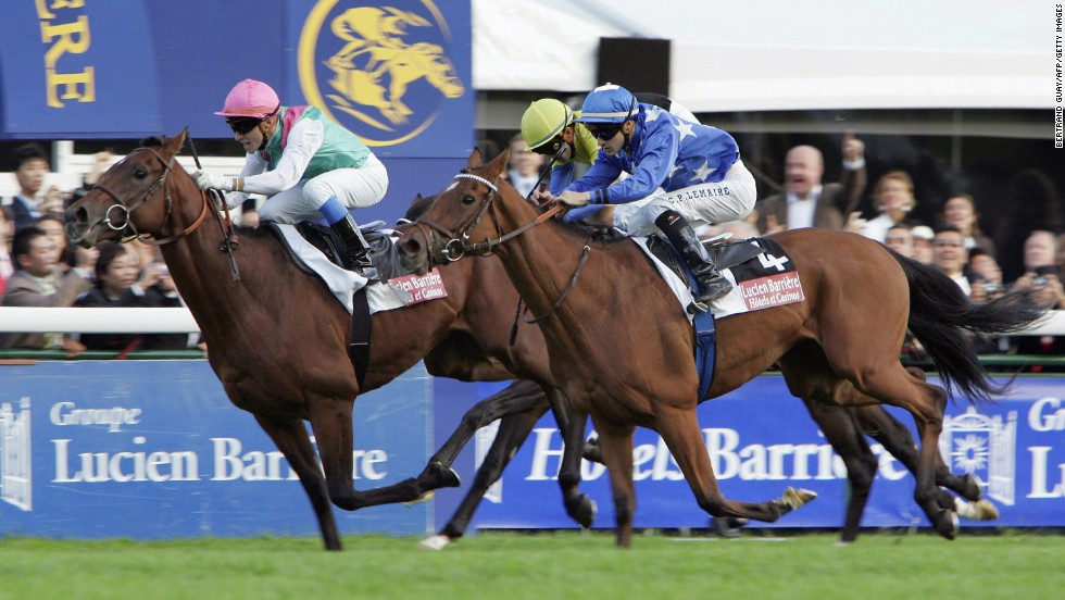 One of the nation's most famous horses is Deep Impact (center), ridden by Take, which came within a whisker of winning the Prix de l'Arc de Triomphe in 2006 -- when Britain's Rail Link snatched the race honors.