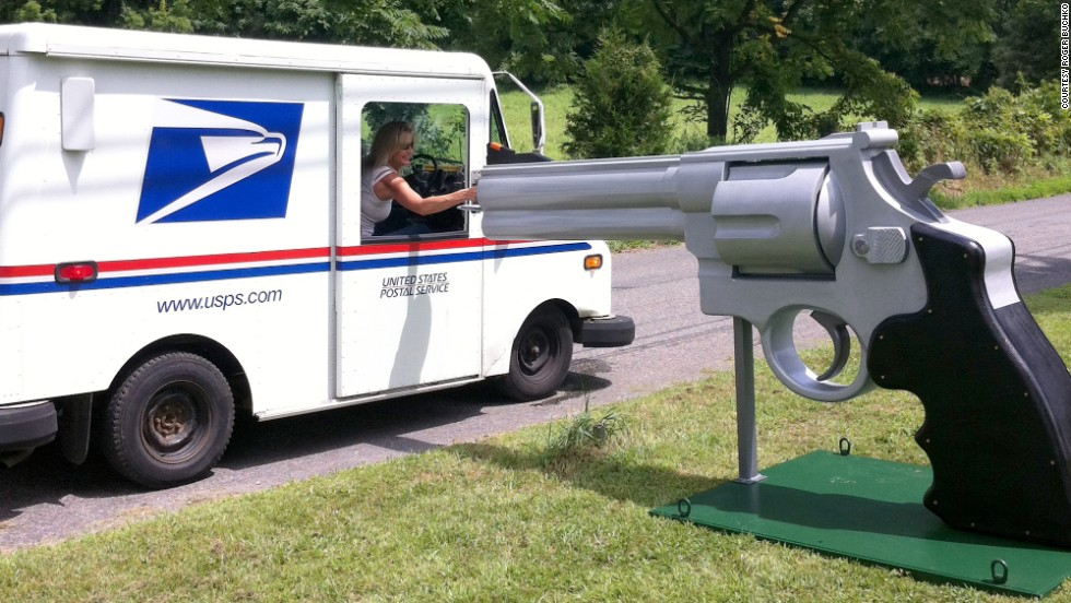 Roger Buchko spent months constructing this 10-foot-long, 5-foot-high exact replica of a Smith & Wesson Magnum .44 that doubles as his mailbox. The New Jersey man claims to be making no political statement with the enormous firearm replica and that he is only trying to drum up interest in his cabinet-making business.