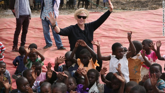 Deborra-lee Furness with Malawi orphans during a trip to Africa with former U.S. President Bill Clinton.