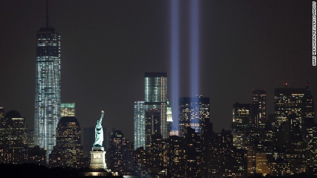 The Tribute in Light marks the 12th anniversary of the 9/11 terrorist attacks on the evening of Tuesday, September 10, in New York City.