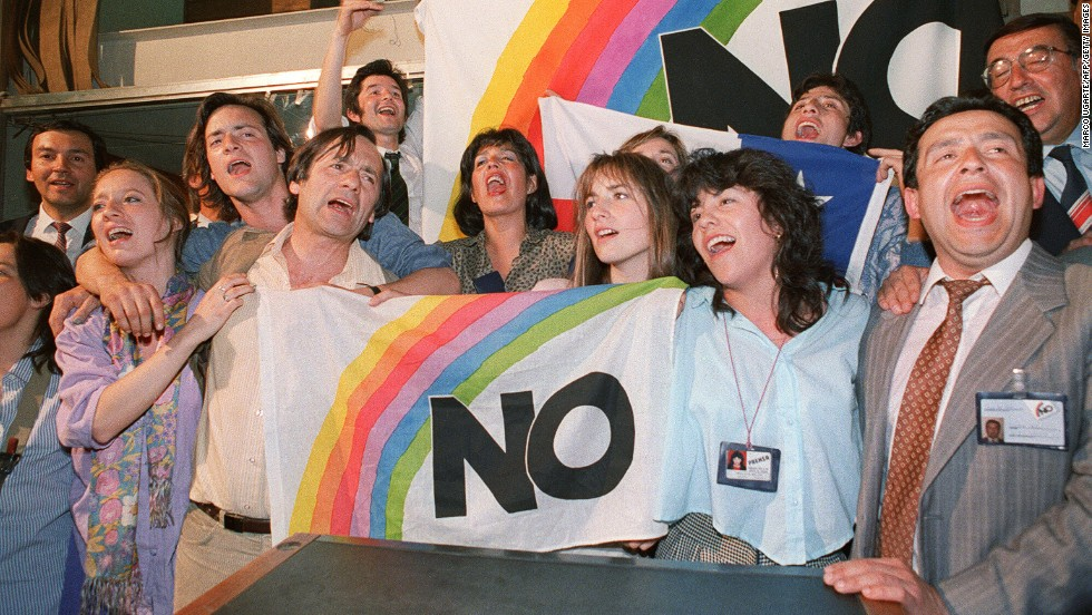 "Thousands of Chileans poured into the streets of Santiago on October 6, 1988 to celebrate the defeat of Pinochet in a ""Yes"" or ""No'"" vote that would have extended the dictator's 15-year rule."