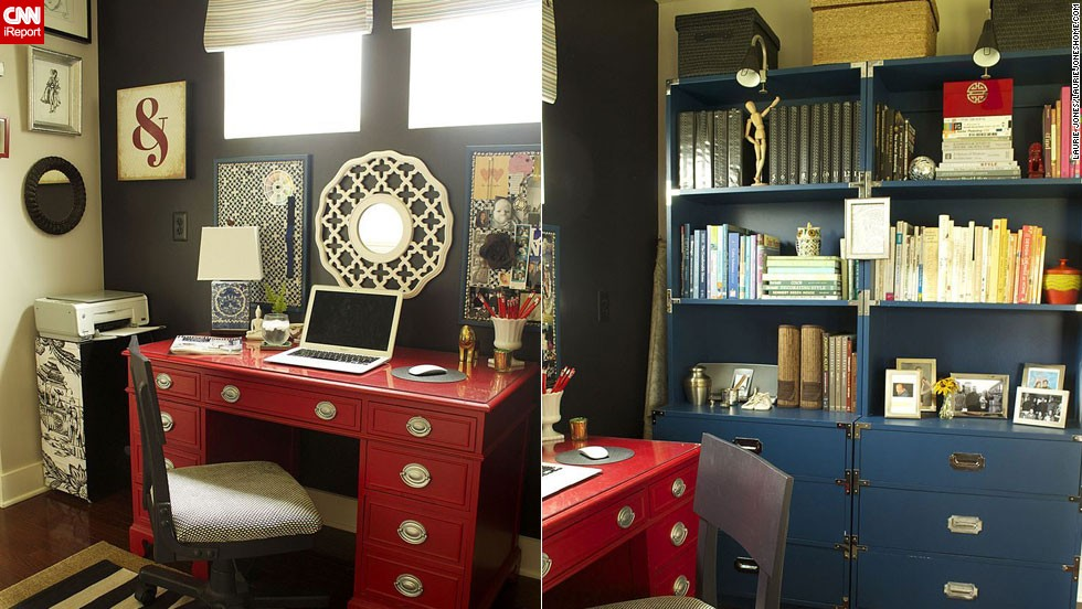"<a href=""http://ireport.cnn.com/docs/DOC-1029134"">Laurie Jones</a>' home office ties its colorful decor scheme back to <a href=""http://lauriejoneshome.com/"" target=""_blank"">the rest of her house</a> by using black paint."
