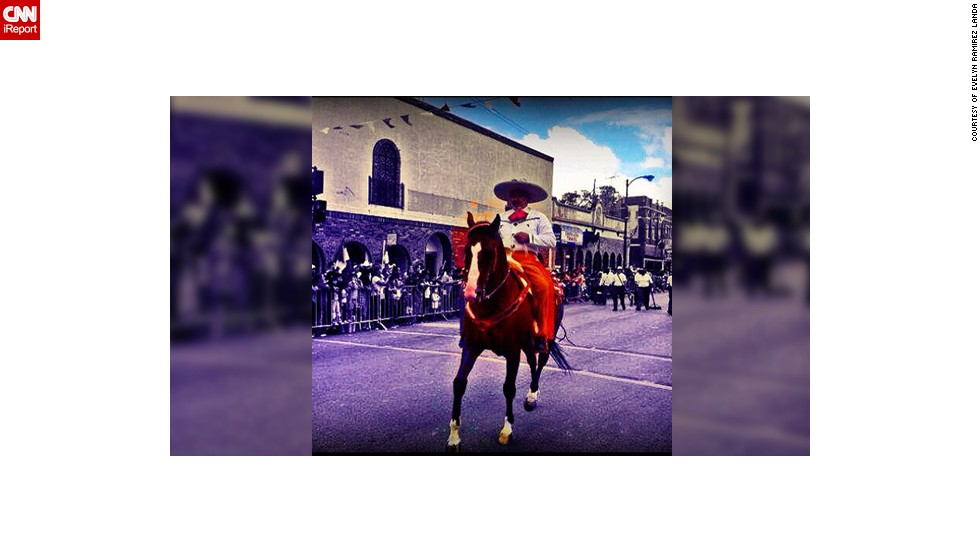 "Evelyn Ramirez Landa took this colorful photo of a Charro (Mexican horseman) during last year's annual Mexican Independence Day parade in the neighborhood of La Villita (Little Village) in her hometown Chicago. ""There were all types of floats from organizations to radio stations and many folkloric dancers and Aztec Dancers, the environment was quite beautiful and everyone was so excited to watch the parade,"" said the 28-year-old Mexican American."